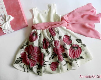 Flower silk dress hand painted for kids. Rose pink  silk dress. Made to order.