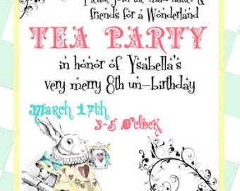 Alice in Wonderland Invite Mad Hatter Tea Party Invitation Digital File 4X6 or 5X7