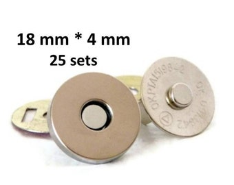 Magnetic Snaps 18mm 25 sets 4mm thick