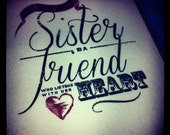 Handmade Typographical Sister Love Birthday Thank You Greeting Card