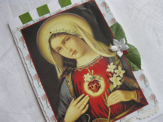 5 x 7 Handmade Catholic Greeting Card Immaculate Heart of Mary Red and Green Size A7