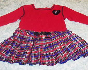Size 2T - Vintage Toddler Dress - from Thomas - Pleated
