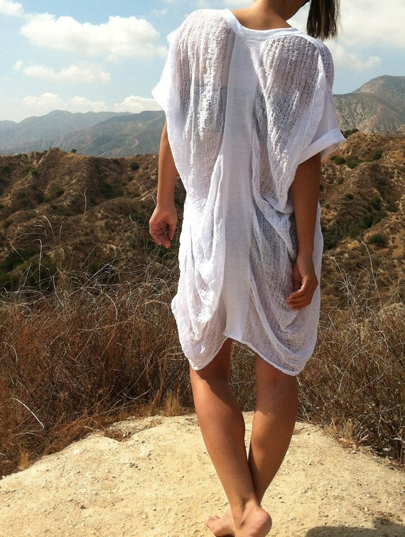 Shredded White Shirt - Tunic - Dress