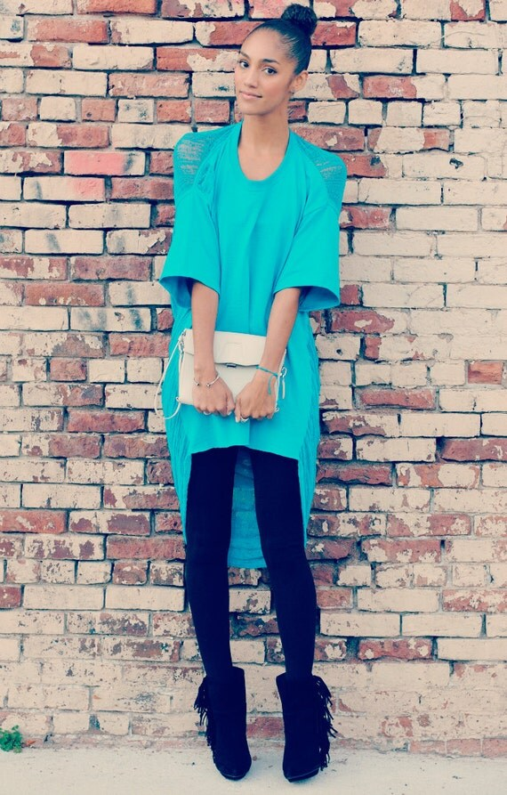 Shredded Shirt - Tunic in California Blue
