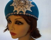Hat Beret, Turquoise Wool Felt with Lace and Glass Medallion