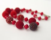 """Christmas Beaded Bead Necklace """"Red"""""""