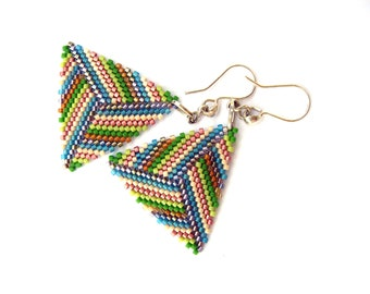 Geometric Triangle earrings  Multicolored  Minimalist Modern with Plated Silver French Hooks