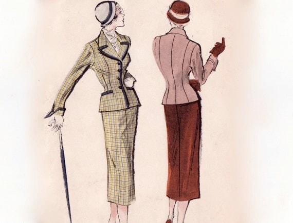 RESERVED Vintage 1950s Sewing Pattern - Ladies 2 Piece Suit, Nip Waist Jacket & Slim Pencil Skirt - Butterick 5422, Bust 32