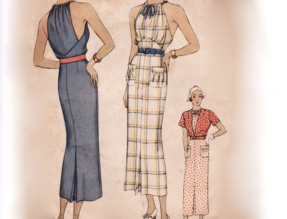 Rare Vintage 1930s Sewing Pattern - Sports Dress with Unusual Drawstring Gathered Neck & Short Sleeve Jacket - 1935 McCall 8210, Bust 34