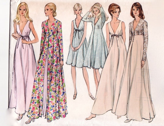 Vintage 1970s Sewing Pattern Peignoir Lingerie Set Negligee