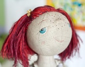 Tonia. Chreeful textile doll - handmade art fabric doll.
