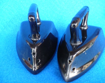 Vintage Black Flat Iron Salt and Pepper Shakers