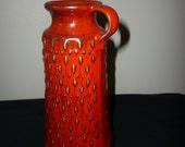 Jasba West German Mid Century Vase, Vibrant Red