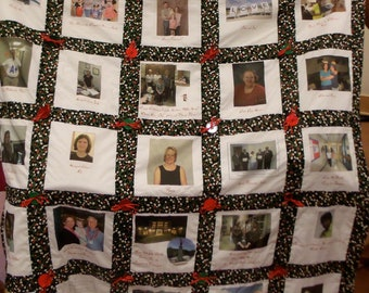 Memory quilt with Signature Pillow  Made to Order