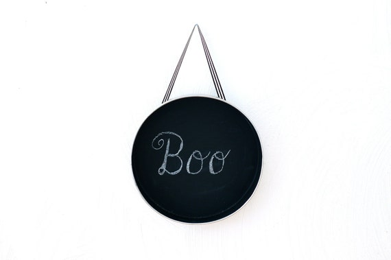 Round Hanging Chalkboard Message Board via Upcycled Aluminum Cake Plate