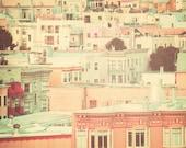 San Francisco Photography, pastel houses, peach and mint, travel photography, retro, shabby chic, nursery decor, street, urban, fPOE