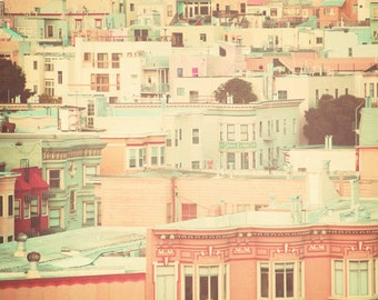 San Francisco Photography, pastel houses, peach, mint, travel print, shabby chic, nursery decor, street, urban, holiday sale, art sale, fPOE