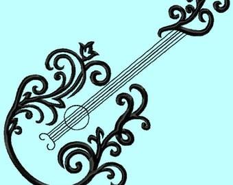 Elegant Guitar  Embroidery Design 3 sizes INSTANT DOWNLOAD