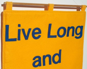 Live Long and Prosper- Appliqued Eco Felt Wall Hanging in Yellow Gold and Science Blue - 18 inches
