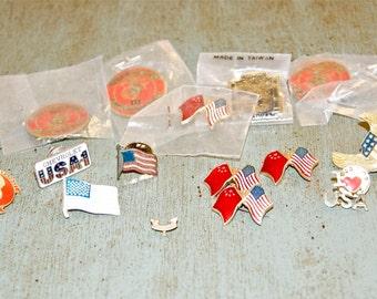18 vintage military pins, USA pins.