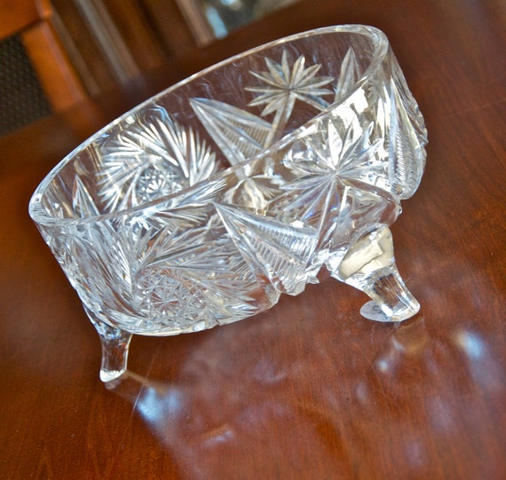 Sale...Larger vintage cut crystal footed bowl...was 30 now 20.