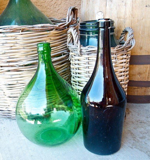 Large vintage Italian demijohn...brown glass wine bottle...prosecco.
