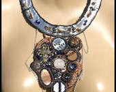 Steampunk Bead Embroidered Necklace