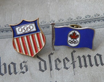 Vintage olympic badges USA Canada