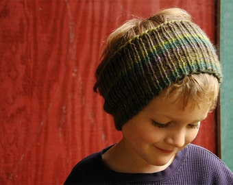 Hand Knit Cowl, Ear Warmer or Headband - Soft Merino Wool in Greens And A Touch of Purple - Ready to Ship