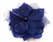 Royal Blue Flower, Peacock Blue Flower Brooch, Cobalt Blue Hair clip, Blue Bridal Fascinator