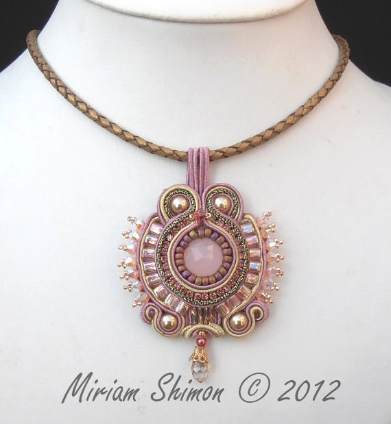 Pink and Gold Soutache beaded pendant