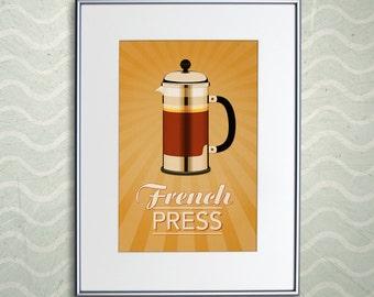 "French Press Coffee Print - Retro Home Decor French Press Poster - 11x17"" or A3"