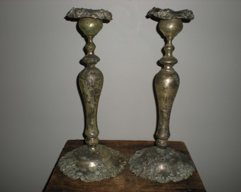 tarnished candle holders