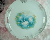 Reserved for Suzanne Vintage Swan Plate Possibly Prussian or Leuchtenburg  Decorative Plate Serving Plate