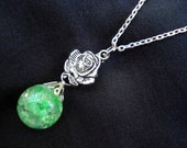 Rose Green Crackle Glass Marble Chain Necklace