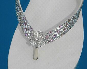 Custom Wedding Flip Flops w/ Swarovski Crystal Rhinestone Jewel Havaianas flat Cariris Wedge Heel Confetti Navette Flower Rock Bridal Shoes