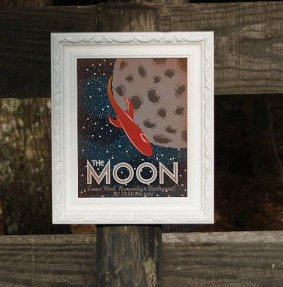 Retro Sci-Fi Moon Travel Poster - 8x10 Print