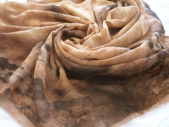 Silk fabric georgette, 200 x 114 cm eco print, hand dyed with plants, naturally eucalyptus dyed  brown