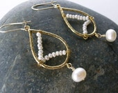 June Birthstone, Seed Pearl Earrings - 14k Gold Filled Earhook, Gift for Her, Under USD30