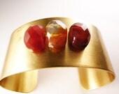 Vintage OOAK Red Agate Brass Cuff - Urban Bohemian Brass Bracelet, Gift for her, Gift Under USD50