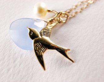 Baby Blue Chalcedony Teardrop with Pearl and Gold Filled Swallow Necklace - Gift for Her, Gift for Teens, Under USD50
