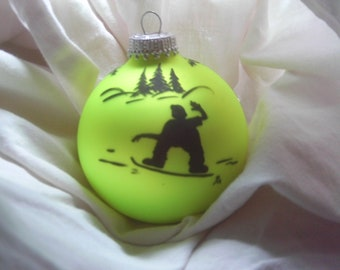 Hand painted snow boarder on a Christmas ball