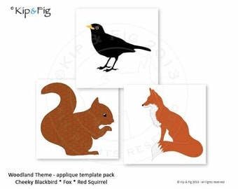 Woodland theme PDF bundle pack of applique pattern templates