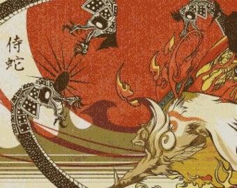 Okami Amaterasu Vs Orochi Cross Stitch Pattern