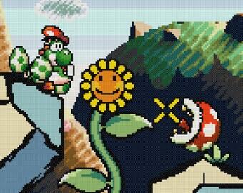 Yoshi's Island Vs Piranha Plant Cross Stitch Pattern