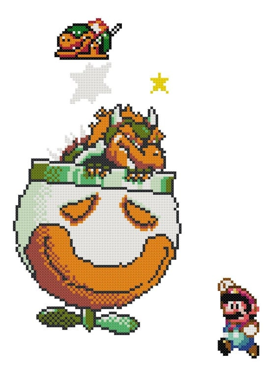 Mario Vs Bowser Cross Stitch Pattern