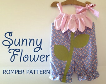 Sunny Flower - Pillowcase Romper Pattern. Girl Baby Toddler Sewing Pattern. Easy Sew Sizes 1/2, 1, 2, 3, 4, 5, 6 included