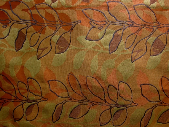 Modern Floral Fabric - Orange Upholstery Fabric