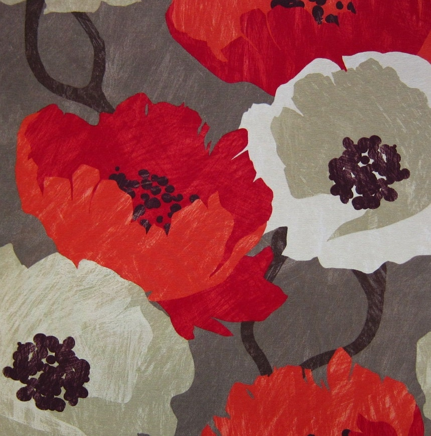 Navy blue floral bedding - Modern Floral Fabric Red Large Scale Floral Print Design