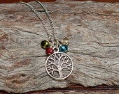 Family Tree Birthstone Necklace, Mothers Necklace- 4 Birthstones